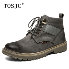 TOSJC New Mens Casual Ankle Boots Outdoor Tooling for Male Autumn Retro Non-slip Cowboy Man Tough Lace-up Work