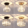 Светодиодные потолочные светильники хрустальный абажур черный золотой плафон для гостиной спальни современный круглый квадратный декора...