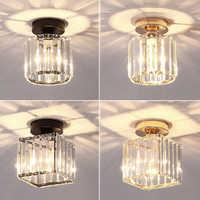 Led plafonniers cristal abat-jour noir or Plafonnier salon chambre moderne rond carré décoratif Plafonnier E27