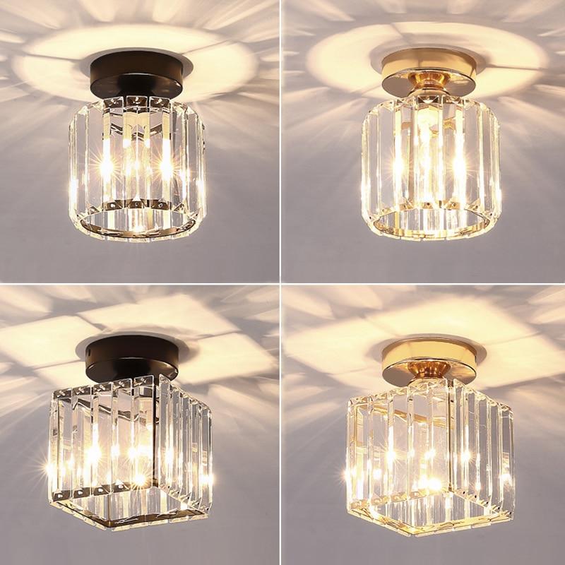 luzes de teto led cristal abajur balck ouro plafonnier sala estar quarto moderno quadrado redondo decorativo