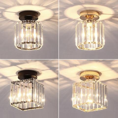 luzes de teto led cristal abajur balck ouro plafonnier sala estar quarto moderno quadrado redondo
