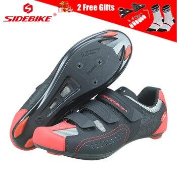 SIDEBIKE ultra-léger serrure chaussures de vélo de route avec semelle en Nylon respirant chaussures de cyclisme PU vélo sport Cycle Sneaker pour hommes femmes
