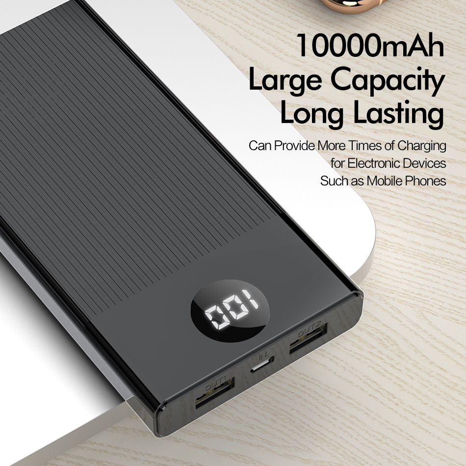 ROCK Power Bank 10000mAh LED Display Portable Charging PowerBank 10000 mAh USB External Battery Charger For Xiaomi Mi 9 8 iPhone 5