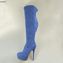 Boots Sky-Blue-Shoes Over-The-Knee-Boots Winter Platform Round-Toe High-Heels Women Plus