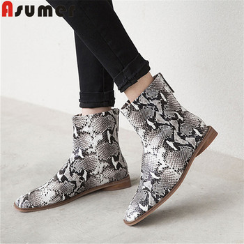 ASUMER fashion new genuine leather boots women square toe zip ladies ankle boots casual flat with ladies prom boots big size