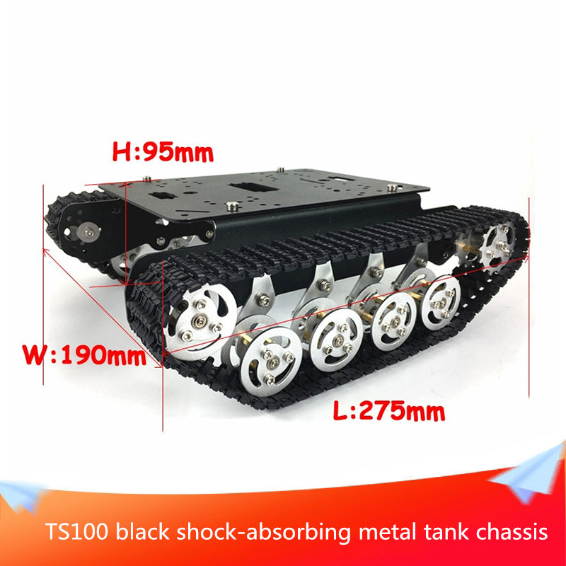 Black <font><b>TS100</b></font> Shock-absorbing Metal RC Robot <font><b>Tank</b></font> Chassis Kit Mobile Platform for Arduino Uno R3 Raspberry Pie DIY Toy Parts image