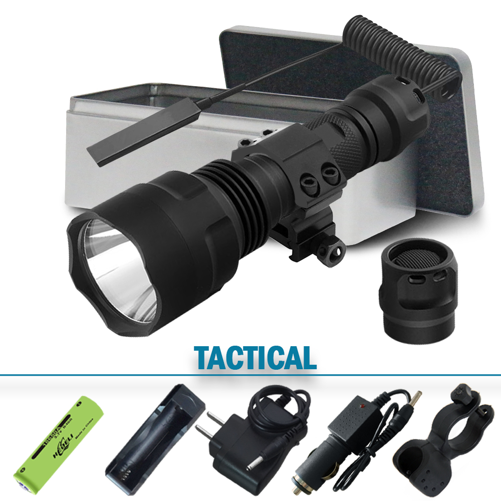 Lantern Led Tactical Flashlight Cree Xm L2 Torch 1 Mode Spotlight Hunting  Rechargeable Waterproof T6 18650 Battery 5000lumen