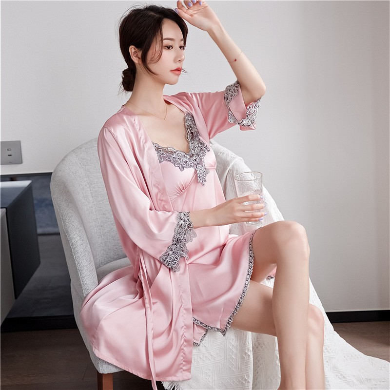 Wedding Sexy Robe Set Satin Sleepwear 2PCS