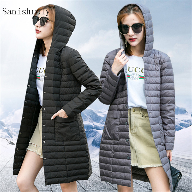 Sanishroly New Autumn Winter Women Midi Long   Coat   Ultra Light White Duck   Down     Coat   Parka Female Hooded Jacket Plus Size 3XL S730