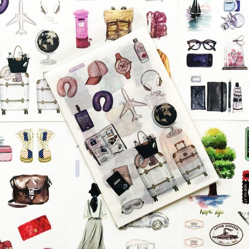 Kit de 6 folhas adesivas para notas, adesivos para viagem, etiquetas, notebook, computador, faça você mesmo, decoração, presente para crianças papelaria papelaria