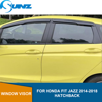 Side Window Deflectors For HONDA FIT 2014 2015 2016 2017 2018 HATCHBACK Winodow Visor Vent Shades Sun Rain Deflector Guard SUNZ window visor vent shades sun rain guard for toyota prado fj120 2003 2009