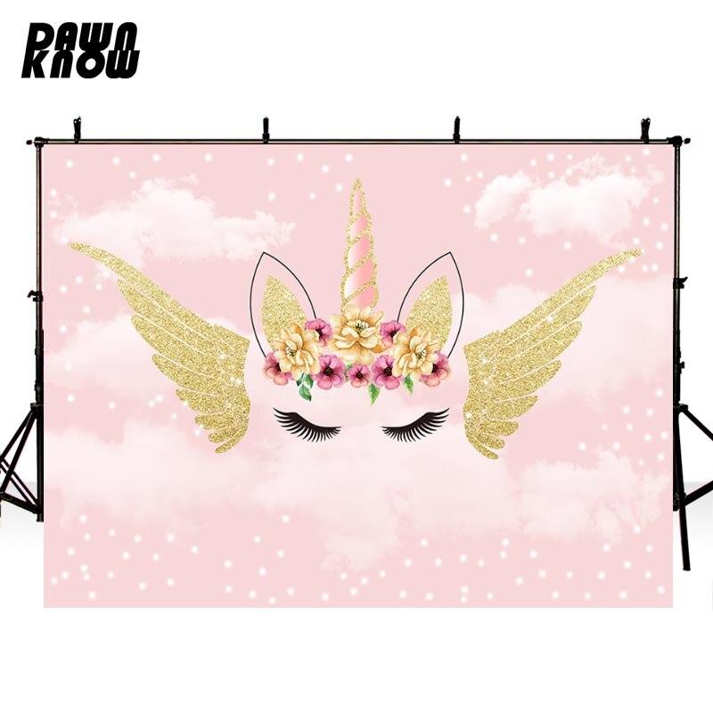 DAWNKNOW Розовый Единорог фон для фотосъемки для новорожденных облака фотосессии фон для фотосъемки для детей фотосессия фотостудия G1094