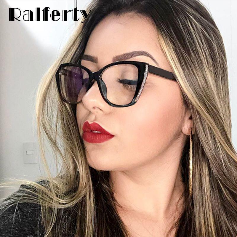 Ralferty Luxury Female Optical Glasses Frame Women Glitter TR90 Adjustable Spring Temple Cat Eye Glasses For Women Myopia F92339