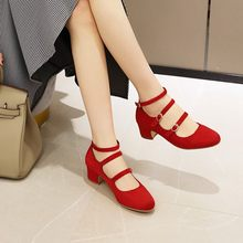 Plus size sandals female summer new round head middle heel Roman sandals net red fashion sexy fat wide single shoes(China)