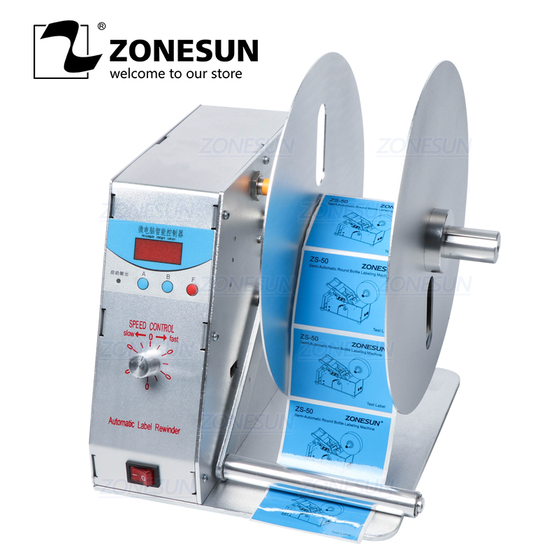 ZONESUN Automatic Label Rewinder For Clothing Wash Label Bar Code Label Sticker Speed Adjustable Rewinding Machine