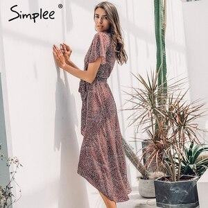 Image 5 - Simplee Leopard print kleid frauen Sommer schärpen lange grün split floral print strand kleid Sexy urlaub weibliche plus größe vestidos