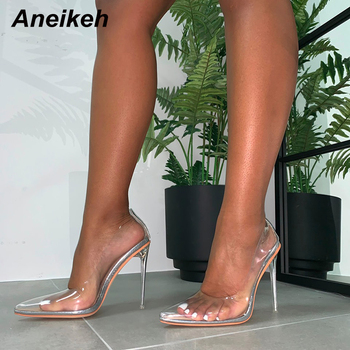 Aneikeh 2020 New Women Pumps PVC Transparent High Heels Sexy Pointed Toe Silver Party Shoes Lady Thin Heels Pumps Size 40 41 42 aikelinyu 2019 classics wedding lady pumps sexy shallow party slip on thin high heels pumps pointed toe high quality women shoes