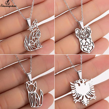 Shuangshuo Stainless Steel Wolf Cat Bull Tiller Dog Eagle Necklace Charms Origami Animal Pendant Chokers Femme Girls New Jewelry(China)