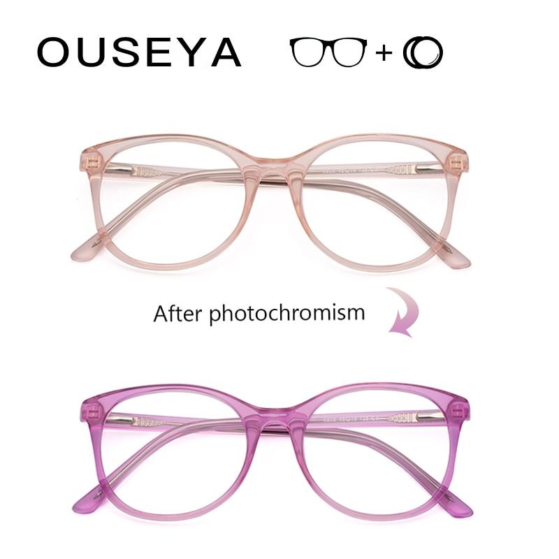 Diopter Glasses For Sight Prescription Women Photochromic Reading Round Photochromic Men's Sunglasses Eyeglasses #5808