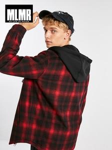 Image 2 - Mens Short Hooded Plaids Loose Wool Cotton Coat