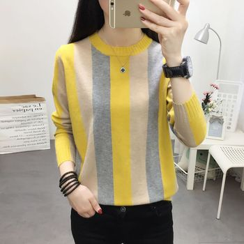 Color Stripe Sweater Contrast Knitted Pullover 2020 Long Sleeve Winter Clothes Turtleneck Knitwear Slim Women Jumper seily winter 2019 letter computer knitted yellow turtleneck sweater women zipper high neck long sleeve knitwear pullover sweter