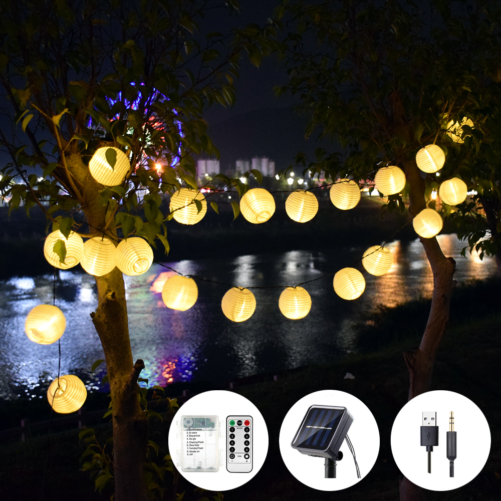 Lantern Solar Garland String Lights USB AA Battery Fairy Holiday Lights 50LED Lighting String Garden for OutdoorIndoor Lighting