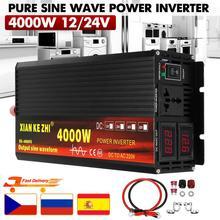 Автомобильный инвертор 12V/24V 220V 3000/4000W Напряжение трансформатор с немодулированным синусоидальным сигналом Мощность инвертор DC12V к переменн...