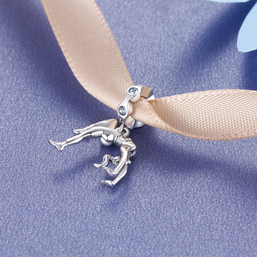 Спортивные шармы из чистого серебра 925 Diy ювелирных изделий браслет ожерелье гимнастка Подвески Ювелирные изделия S007H20