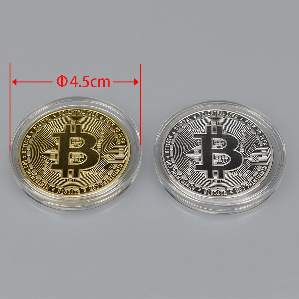 1PC Gold Plated  Bitcoin Coin BTC Bit Physical Metal Collectible Coin for gift with plastic case-5