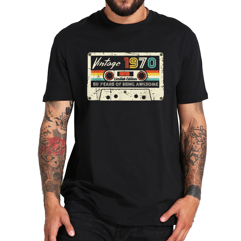 <font><b>Vintage</b></font> <font><b>1970</b></font> T Shirt Made In <font><b>1970</b></font> 50th Birthday Retro Style Tshirt 100% Cotton EU Size Breathable Tee Tops image