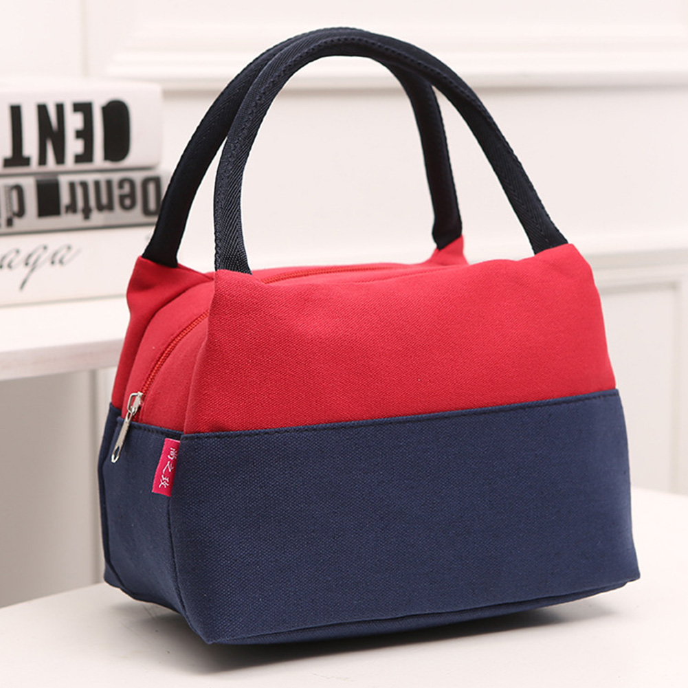 With Handle Portable Kitchen Color Matching Canvas School Picnic Thermal Insulation Lunch Bag Office Travel Large Capacity