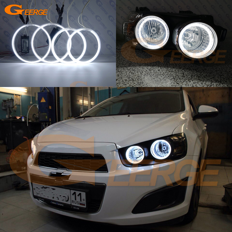 Excellent Ultra Bright CCFL Angel Eyes Kit Halo Rings For Chevrolet AVEO Sonic T300 2011 2012 2013 2014 2015 Pre Facelift