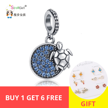 Strollgirl 100% 925 sterling silver summer ocean series cute turtle charms beads fit diy pandora bracelet&necklace jewelry gifts