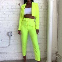 Casual Women Crop Top And Pant Suits Office Sets Short Women 2019 New Fluorescence Neon Green Outfits Blazer Suits