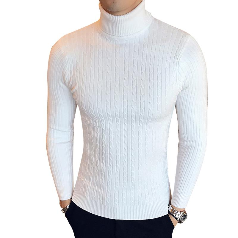 OLOEY Hot Fashion Mens Sweater Solid Roll Turtle Neck Pullover Knitted Jumper Winter Male Fashion Casual Tops