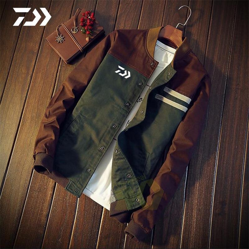 Daiwa Fishing Jacket Men Patchwork Thin Button Spring Autumn Outdoor Fishing Clothing Sports Fishing Shirt Cycling Casual Coat