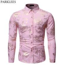 Gold Rose Print Pink Shirt Men 2019 Stylish Slim Fit Long Sleeve Mens Dress Shirts Party Wedding Club Social Shirt Chemise Homme
