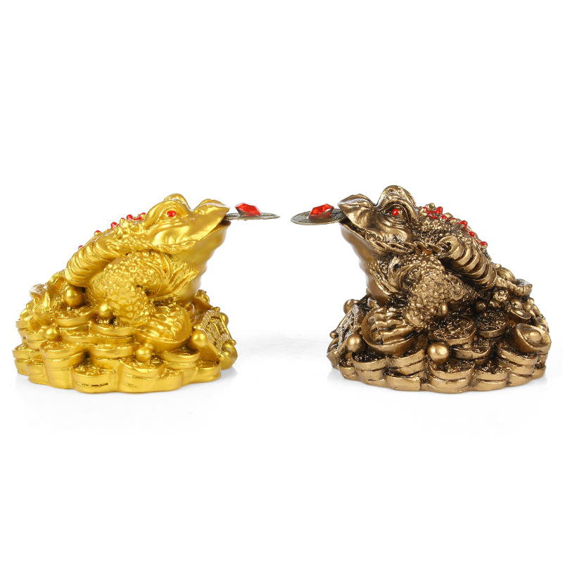 Feng Shui Toad Money LUCKY Fortune Wealth Chinese Golden Frog Toad Coin Home Office Decoration Tabletop Ornaments Lucky