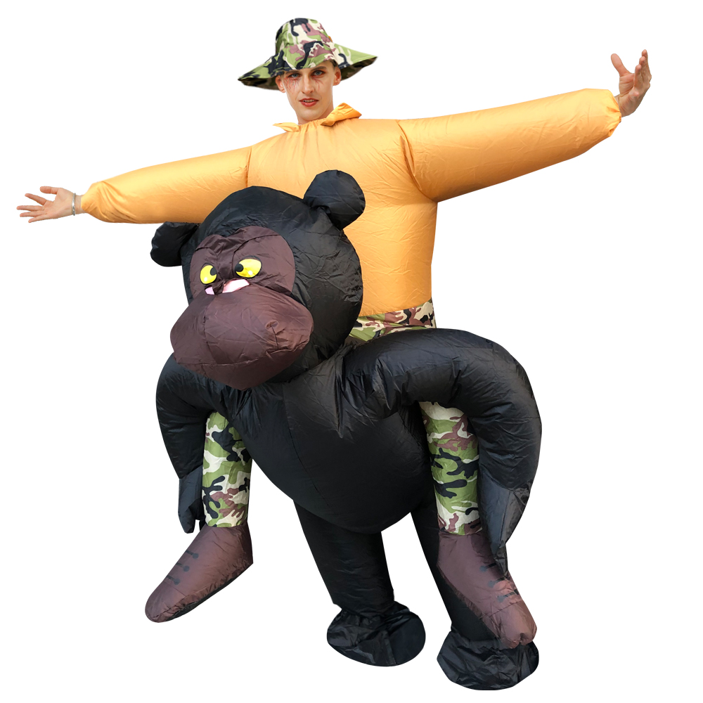 New Adult Inflatable King Kong Cowboy Costumes Ride On Dinosaur Costume Walking Fancy Dress Halloween Costume For Women  Unisex