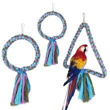 S l tamanho corda de algodão pássaro balanço brinquedos para papagaio pendurado anel 2 estilos gaiola poleiro brinquedos forma redonda pendurado balanços brinquedo suprimentos