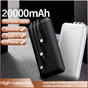 Power-Bank Battery-Pack Xiaomi External 20000mah 3-Cables iPhone 11 Bracket Built-In
