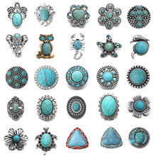 6 Pcs/lot Vintage Batu Alam 18 Mm Gajah Burung Hantu Cross Turtle Logam Snap Tombol Fit DIY Snap Perhiasan(China)