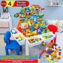 Chairs Table for Building Blocks Combination Give 242 Dream Castle Building Blocks 89 Granules Building Blocks 4 Storage Buckets стоимость