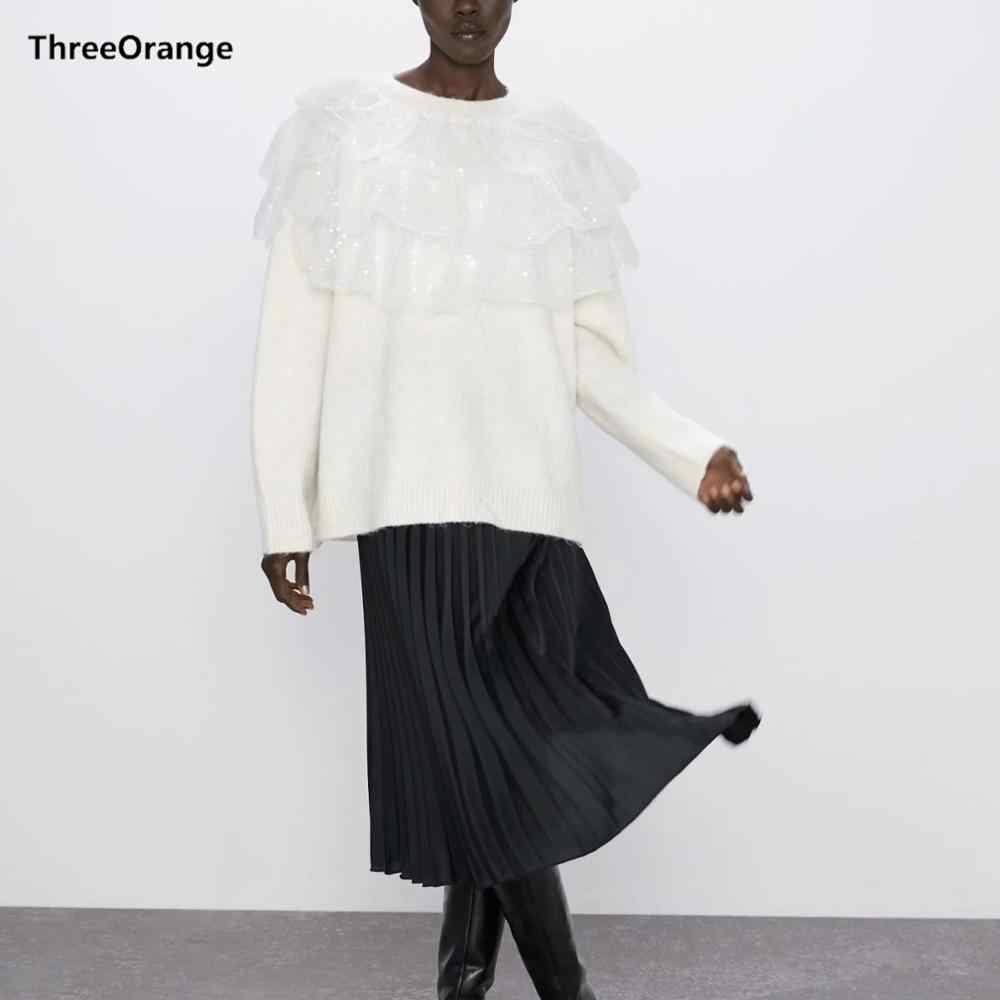 Za 새로운 가을 겨울 여성의 흰색 니트 스웨터 계층화 된 레이스 프릴 스팽글 탑스 세련된 레이디 캐주얼 스웨터 여성 풀오버