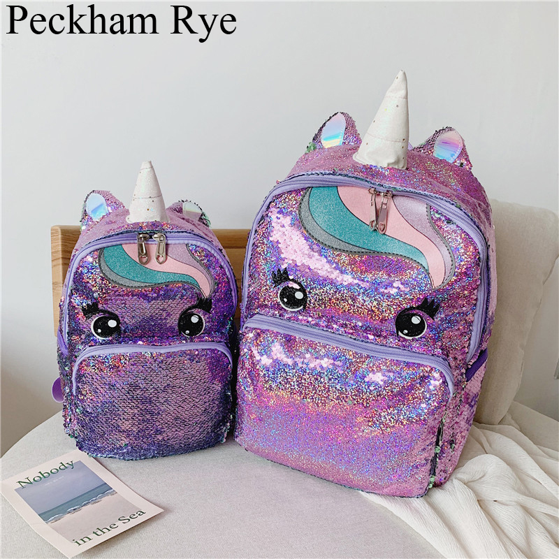 Unicorn Sequin Schoolbag Multi Color Kids School Bags For Girls Backpack Mochila Escolar Book School Bag For Teenager Student