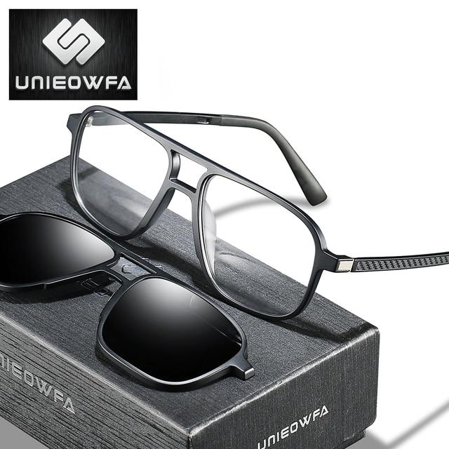 Opticalคลิปแม่เหล็กบนกรอบแว่นตาผู้ชายClear Prescriptionสายตาสั้นกรอบแว่นตาPolarizedแม่เหล็กคลิปแว่นตากันแดดผู้ชายยี่ห้อ