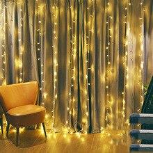 3x1m 3x2m 3x3m LED פיות מחרוזת אורות חג המולד גרלנד וילון מנורת מסיבת חתונה חדש שנה בית מקורה קישוט
