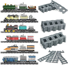 33 models City Trains Electric rail train Blocks Set Track railway Straight Curved Rails Classic Locomotive Bricks Toys for Kids(China)