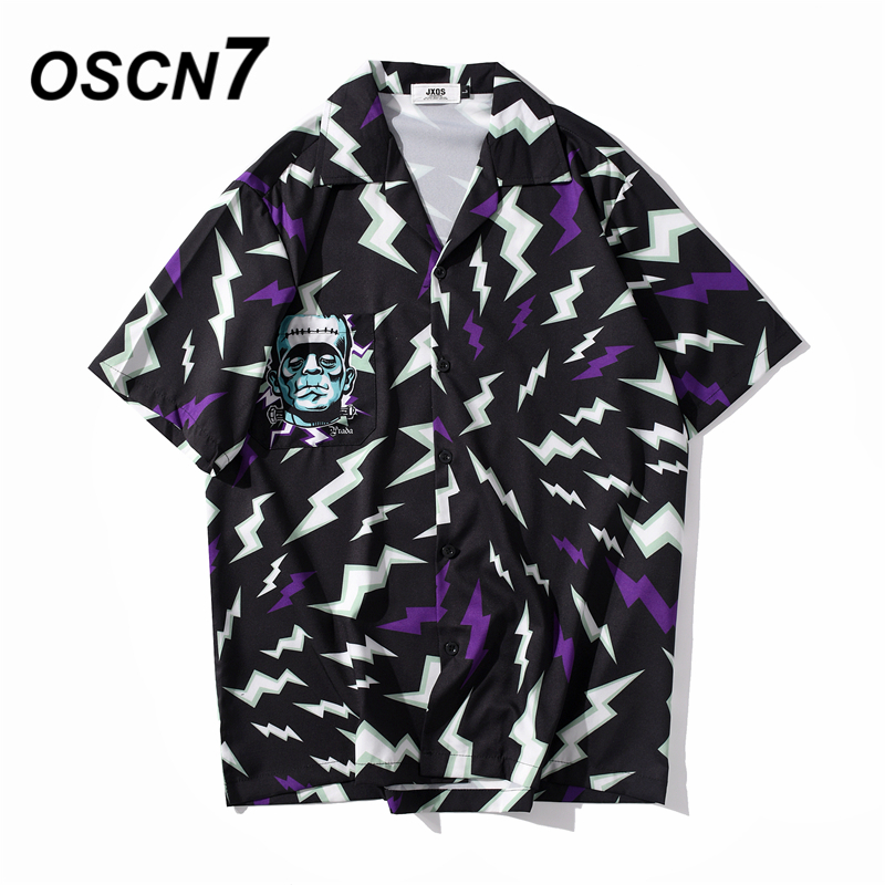 OSCN7 Casual Streetwear Beach Printed Short Sleeve Shirt Men 2020 Hawaii Oversize Fashion Harujuku Women Shirts XQ146