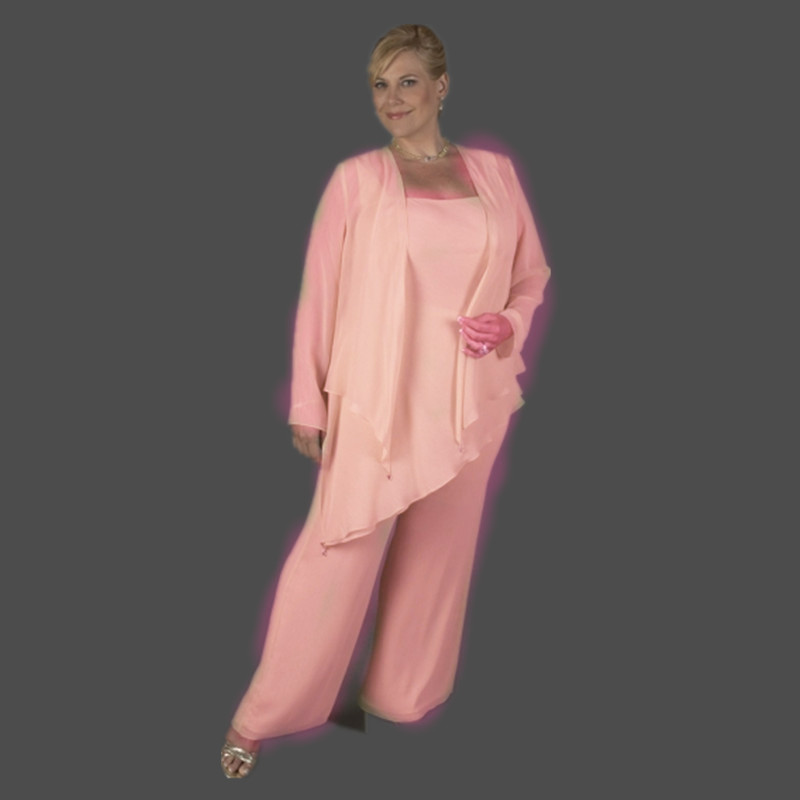 Fast Shpping In Stock 3 Pieces Long Sleeves Chiffon Pants Pink Plus Size Mother Of The Bride Dresses With Jacket